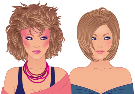 Hairstyle and make-up of decades of the 20th century (1980-1990) Vector