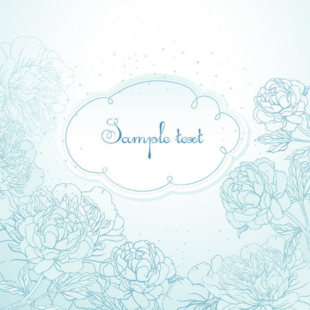outline flower: Abstract romantic vector background with peonies