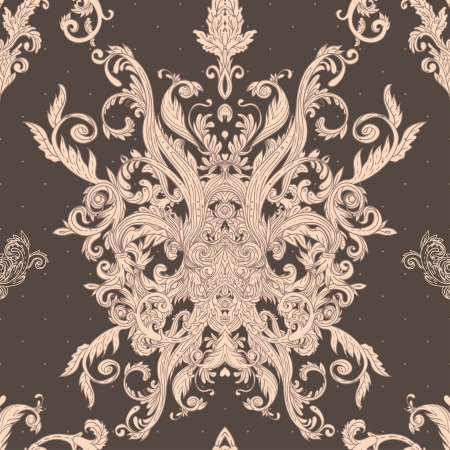 Seamless vintage background brown baroque pattern  Vector