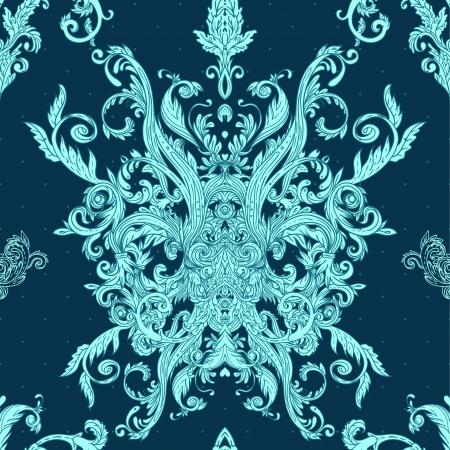 원활한 빈티지 배경 푸른 바로크 패턴