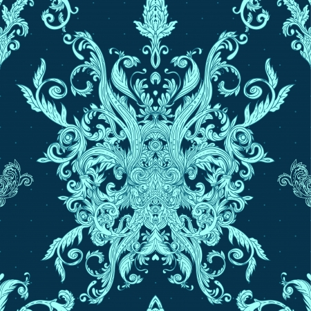 Seamless vintage background blue baroque pattern  Illustration