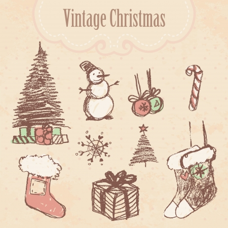 Vintage hand drawn christmas set. Vector illustration.  Vector