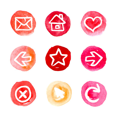 Red set of round watercolor icons, vector illustrations  Vector