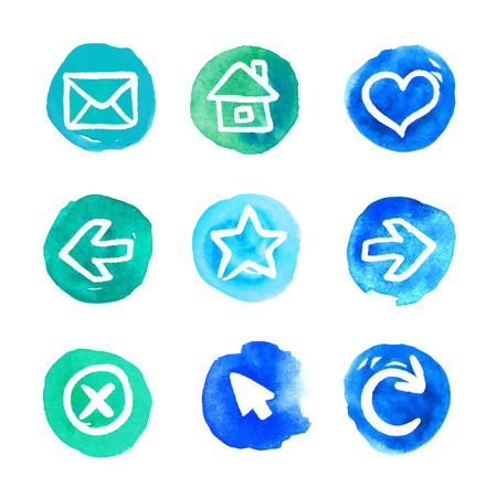 Blue set of round watercolor icons, vector illustrations Illustration