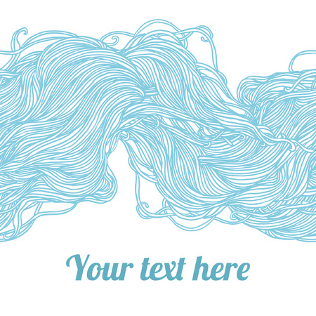 Abstract light blue hand-drawn pattern, waves background. Seamless pattern can be used for wallpaper, pattern fills, web page background, surface textures. Vector