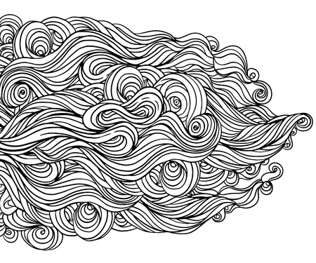 Vector seamless black and white abstract hand-drawn pattern with waves and clouds  Vector