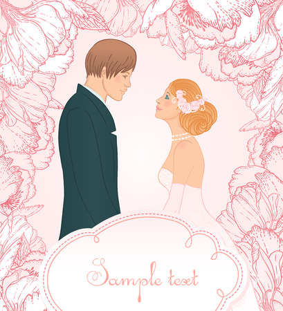 Pink wedding background with couple and flowers, vector illustration Vector