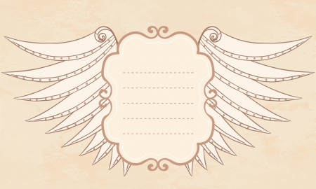 Shield with wings vintage frame illustration.  Vector