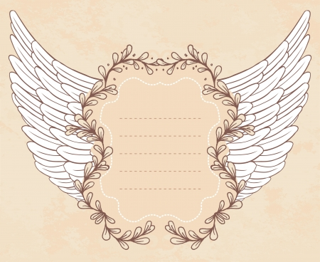 Shield with wings. Vintage frame.  Vector