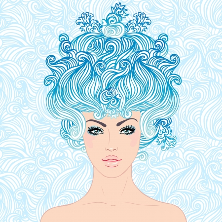 fashion story: Fantasy Snow Queen: young beautiful girl with blue snowflakes in her hair illustration