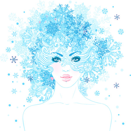 Fantasy Snow Queen: young beautiful girl with blue snowflakes in her hair illustration  Vector