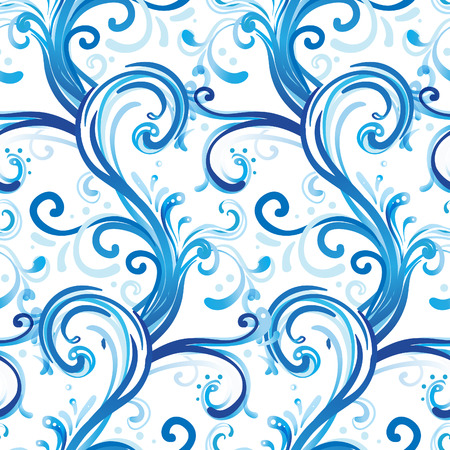 delftware: Frosty Christmas winter pattern illustration.  Illustration