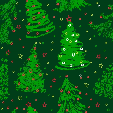 Christmas trees doodles. Seamless pattern in green  Vector