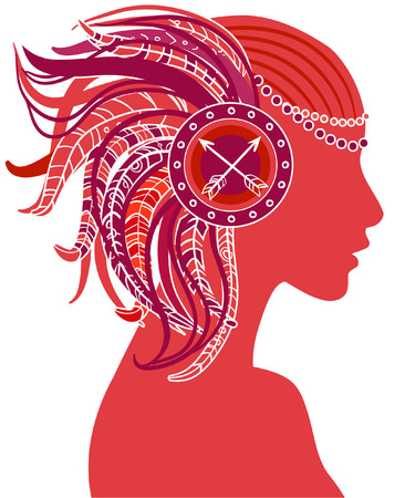 war paint: Sagittarius astrological sign as a beautiful girl. Vector illustration. . Isolated on white.