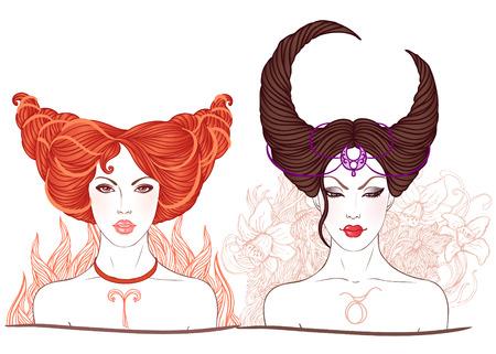Zodiac beautiful girls faces set . Aries Vector