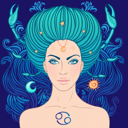 cancer zodiac: Illustration of cancer zodiac sign as a beautiful girl. Vector illustration. Illustration