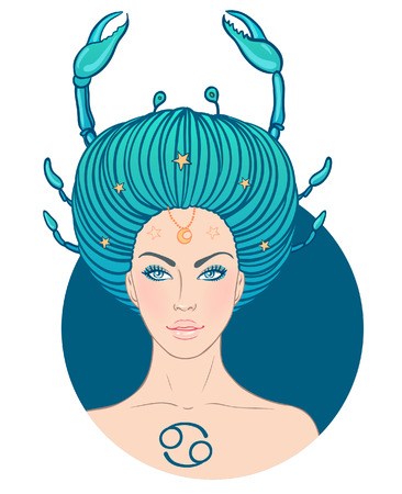 Illustration of cancer zodiac sign as a beautiful girl. Vector illustration. . Isolated on white.