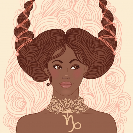 Zodiac beautiful girls set (African American version). Capricorn.  Vector