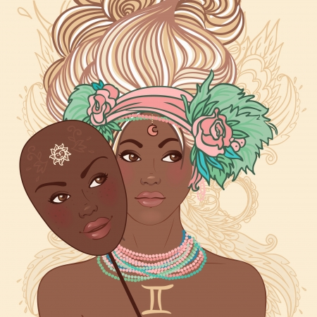 Zodiac beautiful girls set (African American version). Gemini.  Vector