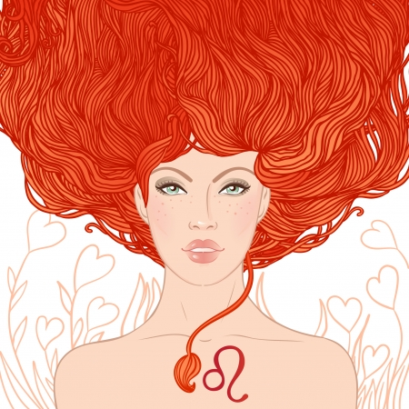 Illustration of leo zodiac sign as a beautiful girl. Vector illustration. Isolated on white.