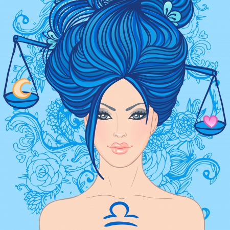 libra: Illustration of libra zodiac sign as a beautiful girl. Vector illustration.. Isolated on white. . Isolated on white.  Illustration