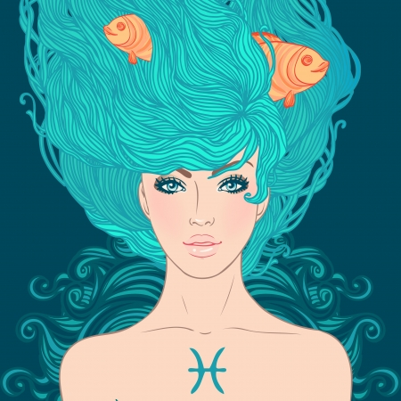 pisces sign: Illustration of Pisces astrological sign as a beautiful girl. Vector.  Illustration