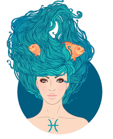 Illustration of Pisces astrological sign as a beautiful girl. Vector. . Isolated on white.