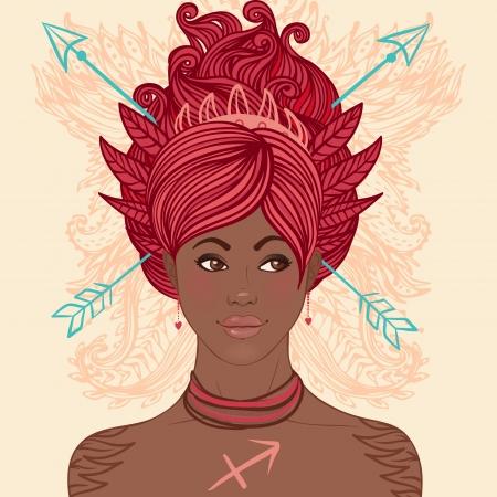 Zodiac beautiful girls set (African American version). Sagittarius.  Vector