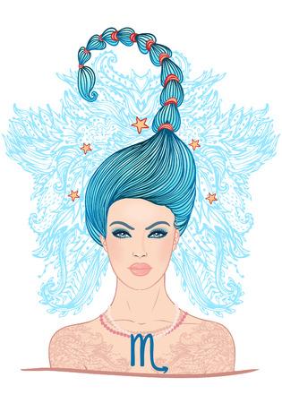 escorpio: Ilustración de Escorpio signo del zodiaco como una muchacha hermosa. Ilustración del vector.