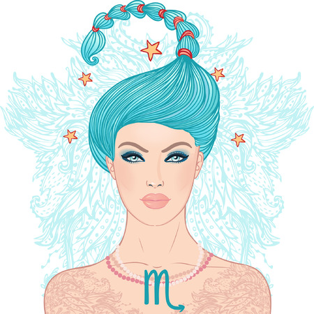 Illustration of Scorpio zodiac sign as a beautiful girl. Vector illustration.  Vector