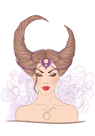 fortune flower: Illustration of taurus astrological sign as a beautiful girl. Vector.