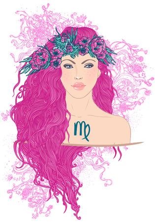 Illustratie van virgo astrologisch teken als een mooi meisje. Vector art.