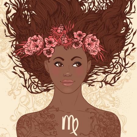 afroamericanas: Hermosas chicas del zodiaco fijaron (versi�n afroamericana). Virgo.
