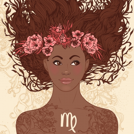 Zodiac beautiful girls set (African American version). Virgo.  Vector