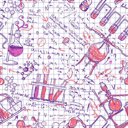 Science chemistry laboratory vector background (sketchy style seamless pattern)  Vector