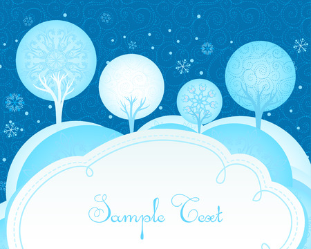 Winter Christmas forest background  Illustration