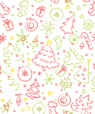 Christmas doodles. Seamless pattern in red and green. Vector art Vector