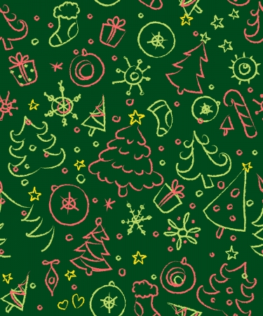 Christmas doodles. Seamless pattern in red and green Vector