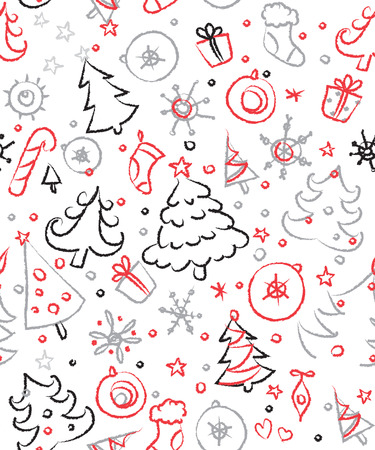 Christmas doodles. Seamless pattern in red and green. Vector art Stock Vector - 24674850