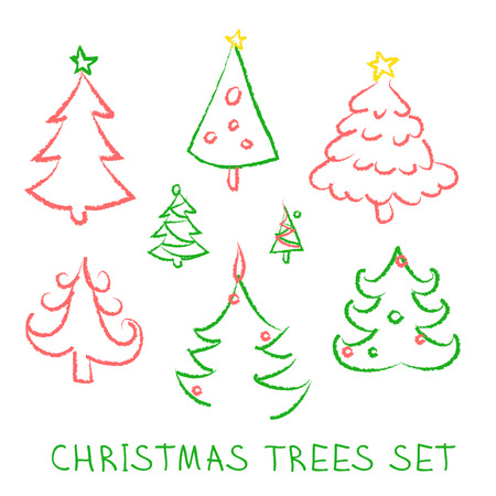Christmas doodles. Fir-trees set on white background. Vector illustration. Vector