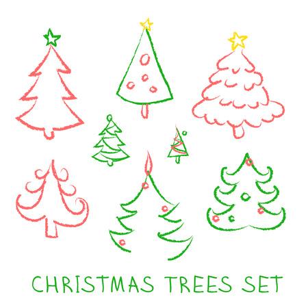 firtrees: Christmas doodles. Fir-trees set on white background. Vector illustration. Illustration
