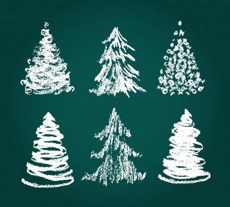 Christmas doodle trees in red and green.  Vector