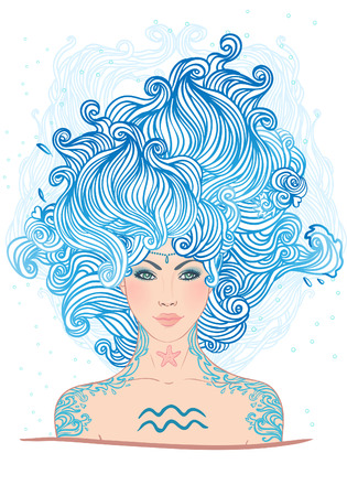 Illustration of Aquarius astrological sign as a beautiful girl. Vector art.  Vector