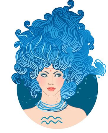 Illustration of Aquarius astrological sign as a beautiful girl. Vector art isolated on white.