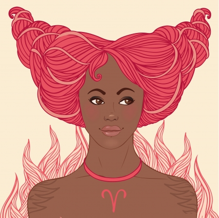 aries: Hermosas chicas del zodiaco fijaron (versión afroamericana). Aries