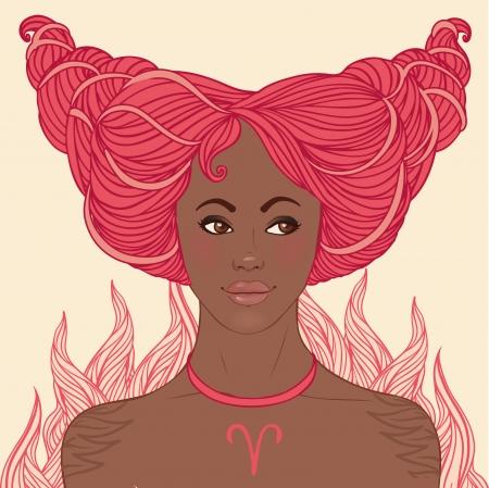 astrological: Zodiac beautiful girls set (African American version). Aries