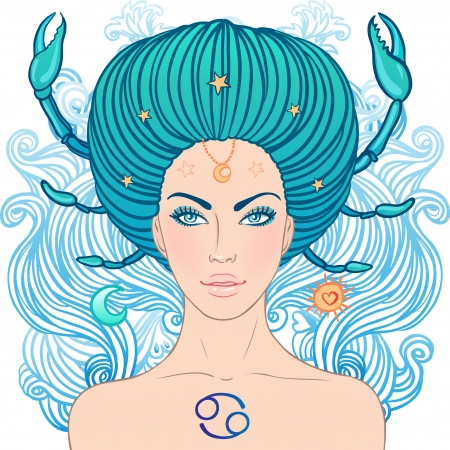 cancer zodiac: Illustration of cancer zodiac sign as a beautiful girl. Vector illustration. . Isolated on white.