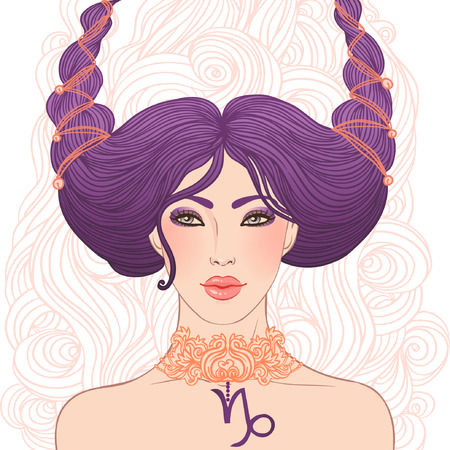 Illustration of Capricorn astrological sign as a beautiful girl isolated on white. Vector art.  Vector