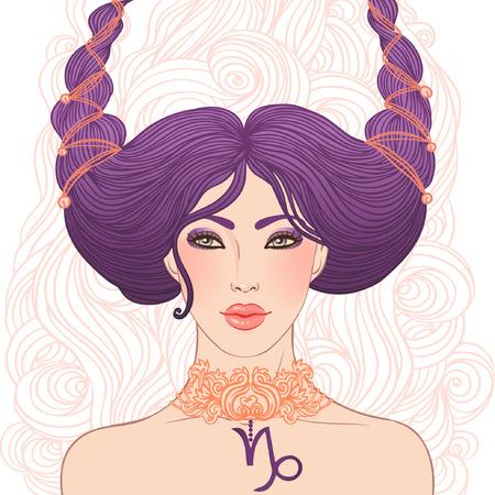 capricornio: Ilustración de Capricornio signo astrológico como una chica hermosa aislado en blanco. Vector el arte.