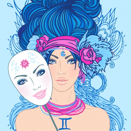 gemini girl: Illustration of gemini zodiac sign as a beautiful girl. Vector. (Young woman with sad expression holding a mask expressing cheerfulness)